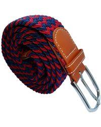 Bassin and Brown Striped Woven Stretch Belt - Multicolor