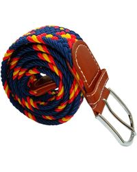 Bassin and Brown Cross Stripe Woven Elasticated Belt - Multicolor