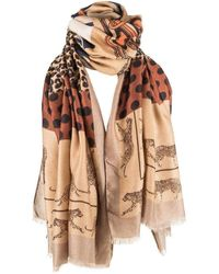 Michelsons Of London Patchwork Chain Scarf - Brown