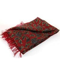 David Van Hagen Paisley Luxury Fashion Silk Scarf - Red