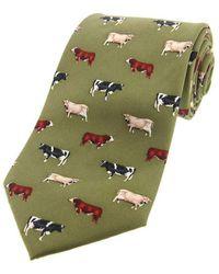 David Van Hagen Cow Breeds Country Silk Tie - Green