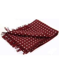 David Van Hagen Polka Dot Luxury Fashion Silk Scarf - Red