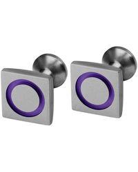 Ti2 Titanium Square Circle Inlay Cufflinks - Multicolour