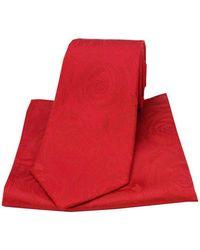 David Van Hagen Rose Wedding Tie And Pocket Square Set - Red