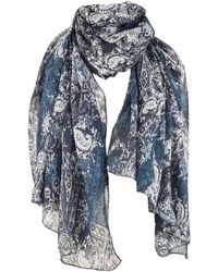Michelsons Of London Abstract Floral Paisley Scarf - Blue
