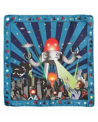 Simon Carter Vintage Robot Pocket Square - Blue