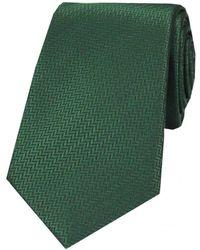 David Van Hagen Herringbone Silk Tie - Green
