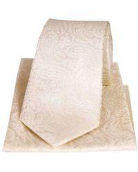 David Van Hagen Tonal Paisley Silk Tie And Pocket Square Set - Natural
