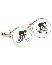 Bassin and Brown Round Cycling Cufflinks - Multicolor