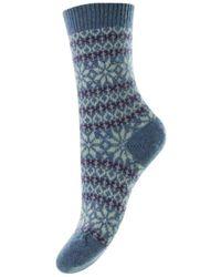 Pantherella Neve Snowflake Fair Isle Cashmere Socks - Blue