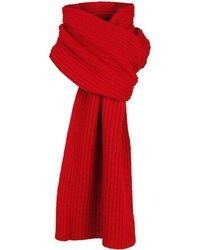 Dents Plain Ribbed Knitted Scarf - Red