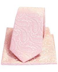 David Van Hagen Tonal Paisley Silk Tie And Pocket Square Set - Pink