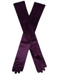 Dents Long Satin Shoulder Length Evening Gloves - Purple