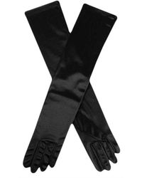 Dents Long Satin Elbow Length Evening Gloves - Black