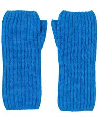 Johnstons Ribbed Wrist Warmers - Blue