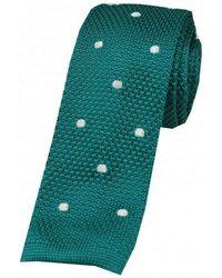 David Van Hagen Polka Dot Thin Knitted Tie - Green