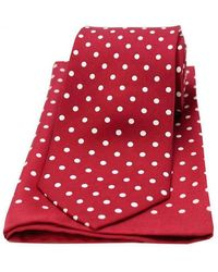 David Van Hagen Polka Dot Matching Tie And Pocket Square Set - Red