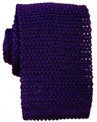KJ Beckett Knitted Silk Tie - Purple
