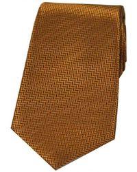 David Van Hagen Herringbone Silk Tie - Brown