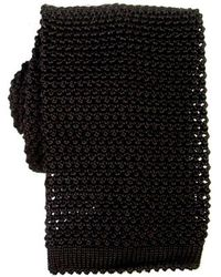 KJ Beckett Knitted Silk Tie - Black