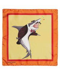 Simon Carter Under The Sea Shark Pocket Square - Yellow