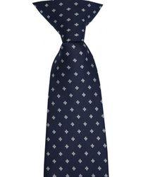 David Van Hagen Small Flowers Polyester Clip-on Tie - Blue