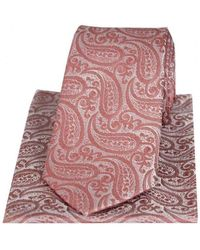 David Van Hagen Tonal Paisley Silk Tie And Pocket Square Set - Multicolor