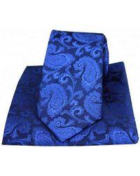 David Van Hagen Paisley Woven Silk Tie And Pocket Square Set - Blue