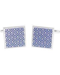 David Van Hagen Shiny Square Enamel Geometric Design Cufflinks - Blue