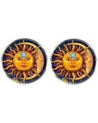 Bassin and Brown Sun And Crescent Moon Face Cufflinks - Multicolor