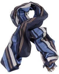 Bassin and Brown Livingstone Large Stripe Cotton Scarf - Blue