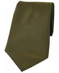 David Van Hagen Horizontal Ribbed Polyester Tie - Green