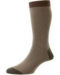 Pantherella Petworth Pique Contrast Heel And Toe Fil D'ecosse Socks - Multicolour