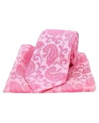 David Van Hagen Paisley Silk Tie And Pocket Square Set - Pink