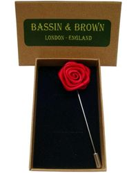 Bassin and Brown Rose Flower Lapel Pin - Multicolour