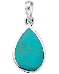 Beginnings Synthetic Turquoise Teardrop Pendant - Blue