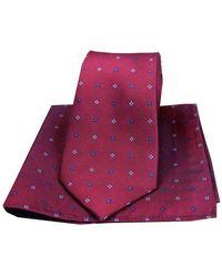 David Van Hagen Small Flowers Tie And Pocket Square Set - Purple