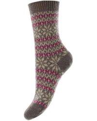 Pantherella Neve Snowflake Fair Isle Cashmere Socks - Multicolour