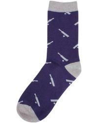 David Van Hagen Cricket Bat And Ball Socks - Purple