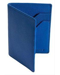 Dents Rfid Blocking Protection Pebble Grain Leather Passport Holder - Blue