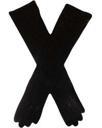 Dents Long Velvet Shoulder Length Evening Gloves - Black