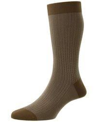 Pantherella Fabian Cotton Fil D'ecosse Herringbone Socks - Multicolour