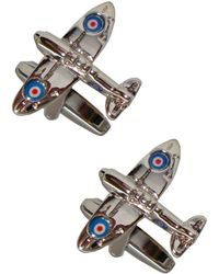 Bassin and Brown Spitfire Plane Cufflinks - Multicolour