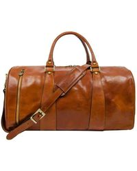 Time Resistance Wise Leather Duffle Bag - Brown