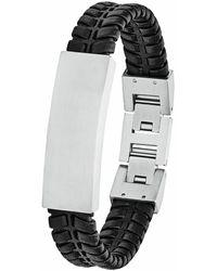 S.oliver Herren Leder-Armband - Schwarz