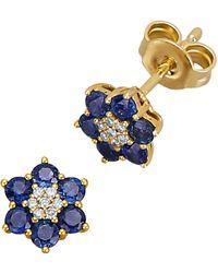 Diemer Farbstein Oorstekers Met Saffieren En Diamanten - Blauw