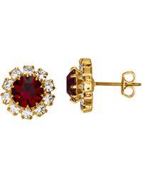 Golden Style Ohrstecker mit Kristallen - Rot