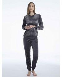 CALIDA Bündchen-Pyjama aus Nicki - Grau