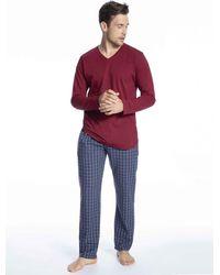 Tom Tailor Pyjama mit Webhose - Rot