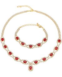 Golden Style Collier, Armband - Rood